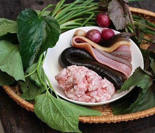Nguyên liệu để làm món chả lươn cuốn lá lốt