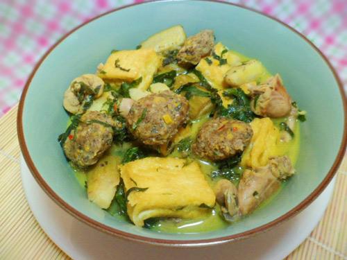 Ếch nấu chuối đậu
