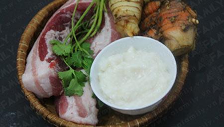 nguyên liệu cho món lươn om riềng mẻ