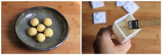 Đậu xanh vo tròn, quét dầu ăn vào khuôn bánh