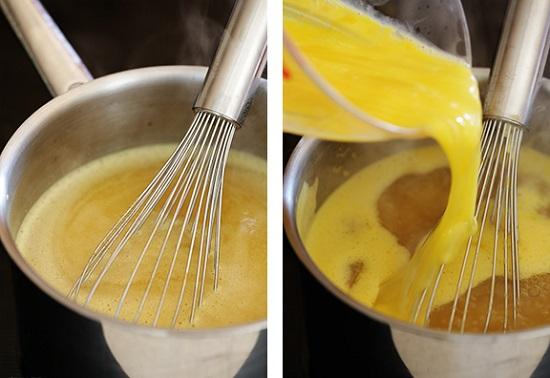 Trộn nước dùng  gà và bột bắp đun sôi
