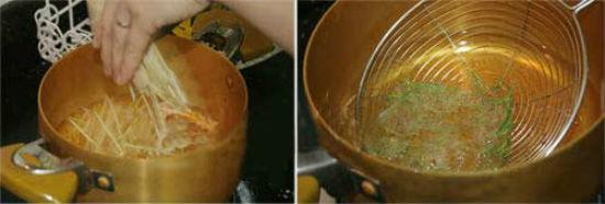 Cho thịt gà, sả, lá chanh vào chảo dầu chiên