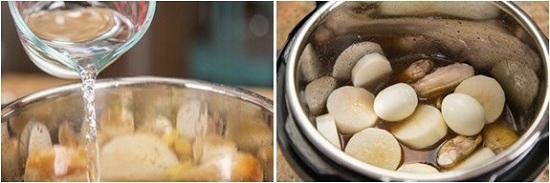 Cho thịt gà và các nguyên liệu vào nồi nấu