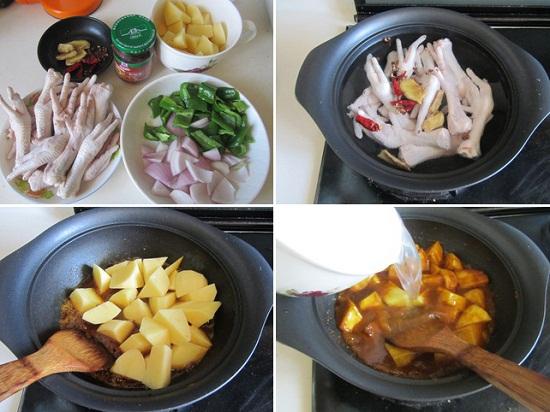 Cho chân gà và các nguyên liệu vào nồi nấu