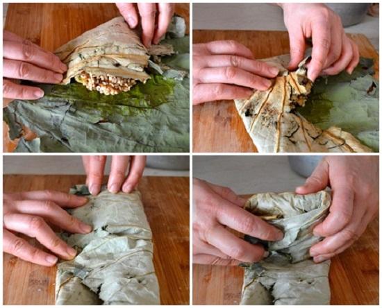 Các bước làm món xôi gà hấp lá sen