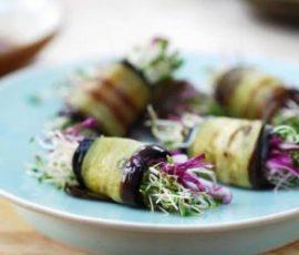 Cà tím cuộn rau củ ngũ sắc món chay ngon thanh đạm