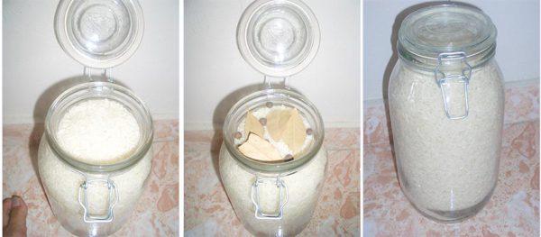 Đựng gạo trong lọ bằng thủy tinh có nắp kín