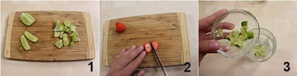Sơ chế chanh và dâu tây