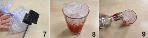 Cho đá vào ngập cốc rồi cho rượu vodka vào khuấy đều