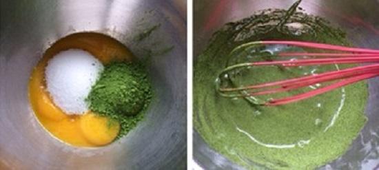 Cho lòng đỏ trứng, đường, bột trà xanh vào âu, khuấy đều