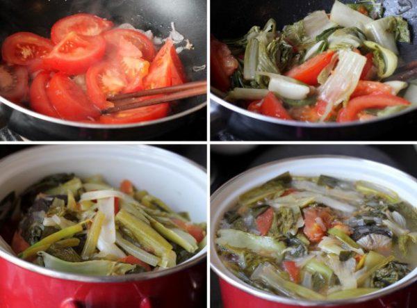 Cách nấu món canh đầu cá hồi dưa chua