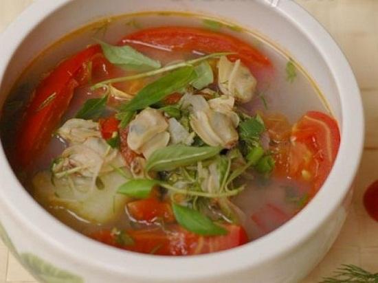 Canh ngao nấu chua thanh mát