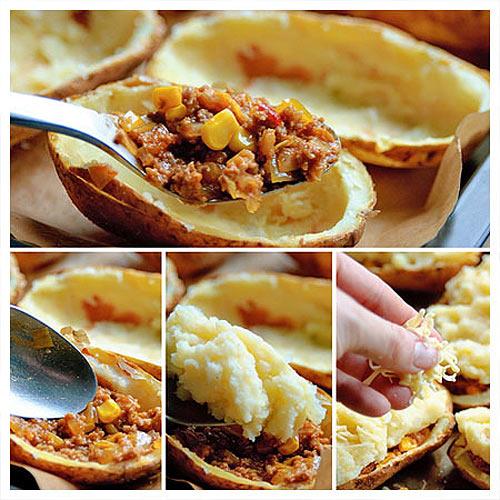 Cho hỗn hợp thịt bò, khoai tây vào vỏ khoai tây