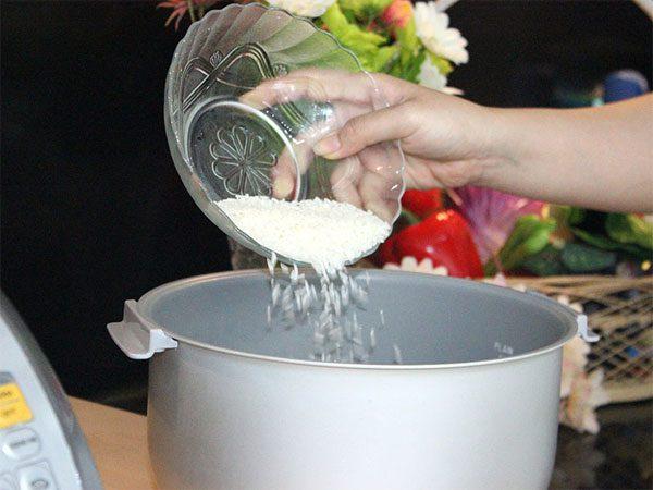 Cho gạo vào nồi nấu