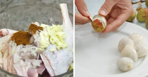 Vịt chặt miếng vừa ăn , vải bóc vỏ