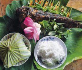 Cá lóc nướng cuốn lá sen - Món đặc sản quê hương Đồng Tháp