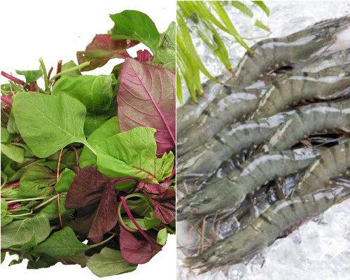 Sơ chế rau dền và tôm