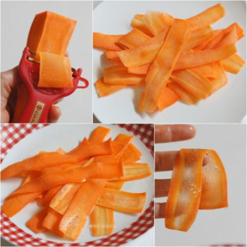 Cà rốt gọt vỏ thái thành lát mỏng