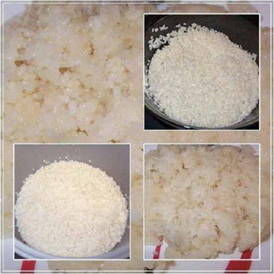 Gạo nếp ngâm qua đêm đem nấu chín
