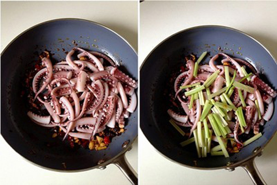 Thêm cần tây và mực vào xào chín