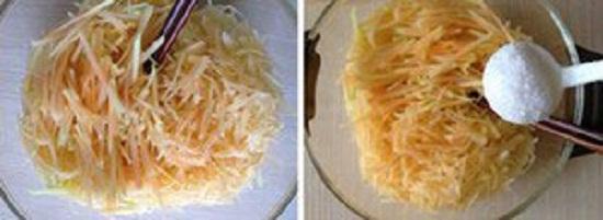 Đu đủ bào sợi thêm muỗng muối cho thấm gia vị