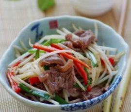 Thịt bò xào giá đơn giản dễ làm mà ngon tuyệt