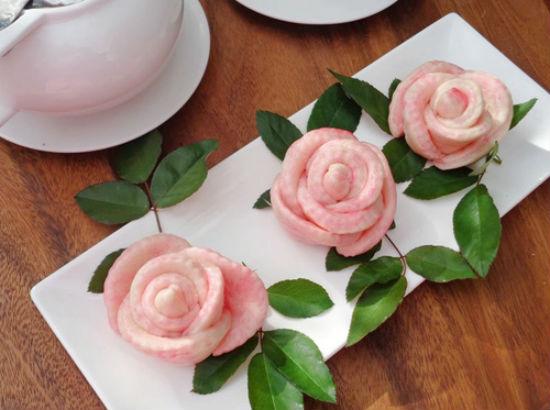 Món bánh bao hoa hồng đẹp mắt