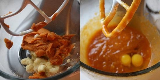 Cho chuối, khoai lang nướng và đường vào máy trộn đều