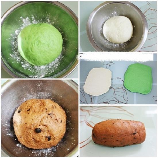 Trộn màu thực phẩm vào hai bát bột