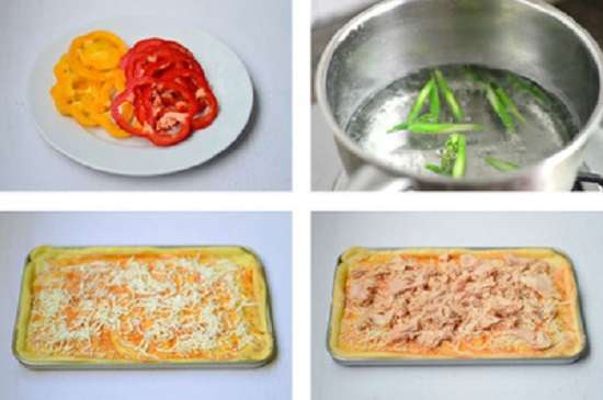 Phết một lớp sốt cà chua và phô mai lên lớp bột