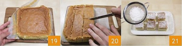Cắt bánh thành cácô vuông nhỏ và cùng thưởng thức