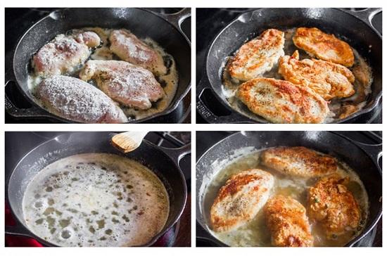 Cho nguyên liệu làm sốt chanh vào đun rồi cho thịt gà vào