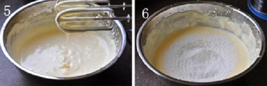Rây bột mỳ vào bát hỗn hợp trứng đường