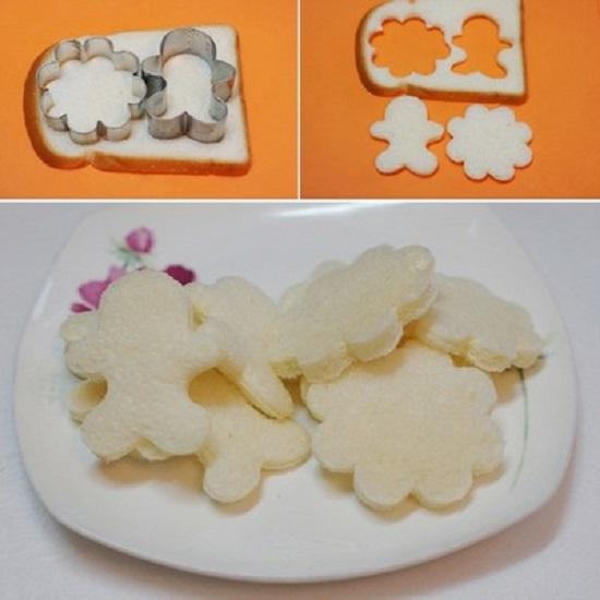 Dùng khuôn cắt bánh sandwich để tạo hình