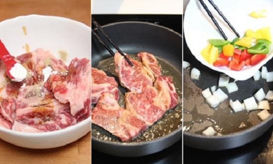 Thịt bò ướp cùng gia vị