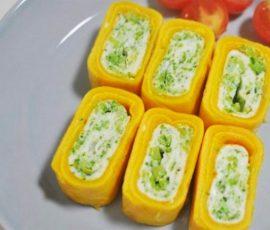 Món trứng cuộn bông cải