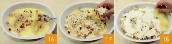 Rải đều thịt xông khói, phô mai nước sốt và khoai tây lên trên