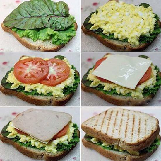 Cho các nguyên liệu lên lát bánh mỳ