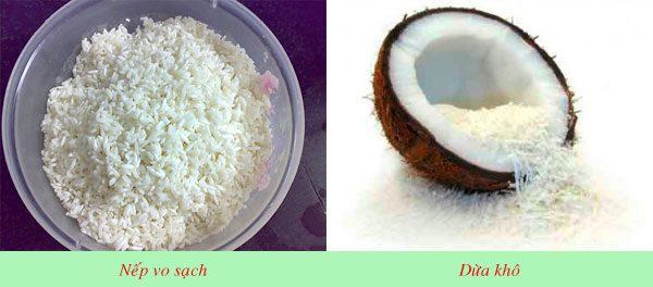 Nguyên liệu làm bánh dừa
