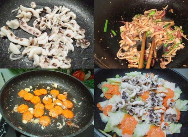Làm mực xào su hào cà rốt