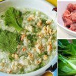 Món cháo thịt bằm rau cải xanh đổi vị cho bé
