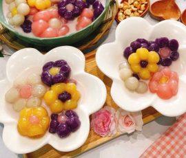 Món chè khoai dẻo hình bông hoa nhiều màu sắc