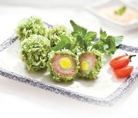 Món trứng chiên cốm xanh ngon bắt mắt