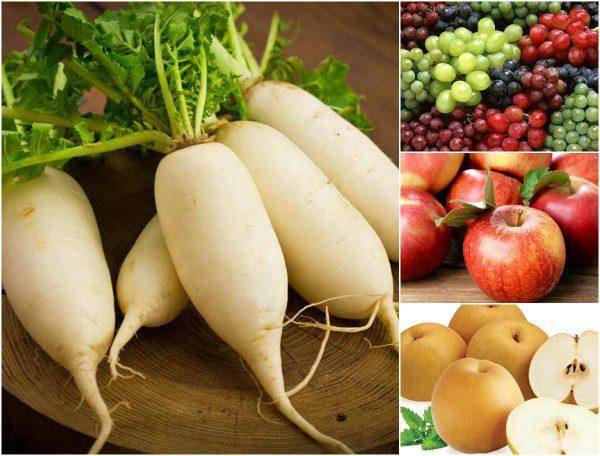 Củ cải trắng với các loại lê, táo, nho