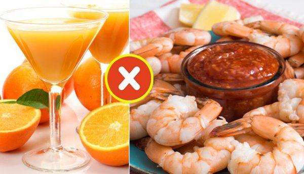 Ăn tôm cùng rau, củ, quả giàu vitamin C dễ gây ngộ độc