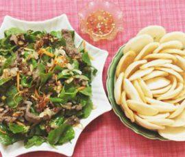 Món gỏi rau má trộn thịt bò giải nhiệt ngày nắng