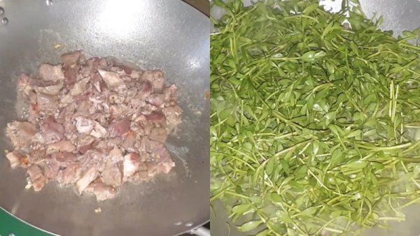Xào chín thịt bò rồi cho tiếp hành tây, rau đắng vào xào