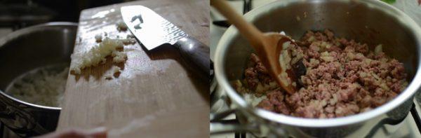 Cho thịt bò vào chảo đảo đều cho đến khi thịt chuyển màu nâu