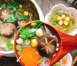 Món súp nấm chay thanh tịnh