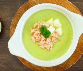 Món súp cá hồi phô mai măng tây bổ dưỡng cho bé